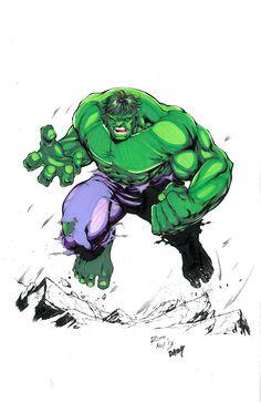 Original Hulk Comic Art Color Commission by Tony Kordos and Jeff Balke