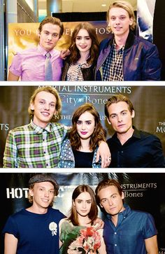 The three from Each Mortal Instruments: City of Bones Movie. Kevin Zegers (to play Alec Lightwood), Lily Collins (to play Clary Fray), and Jamie Campbell Bower (to play Jace Wayland). Mall of America, Chicago, and Florida.