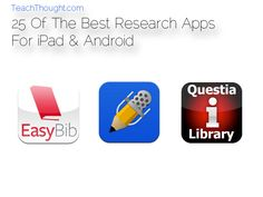 """Coupled with a pencil and a notepad, a tablet or smartphone–and all the apps and networks they give you access too–can make for a powerful combination. Below are 25 of the best research apps for iPad and Android to get you–and them–started. Mobile Learning, Kids Learning, Research Presentation, Teacher Workshops, Common Core Writing, Information Literacy, Research Skills, Best Ipad, Creative Teaching"