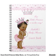 Shop Guest Book Princess Baby Shower Pink White Ethnic created by VintageBabyShop.
