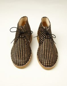 Houndstooth Cow Hair Desert Boot (houndstooth)