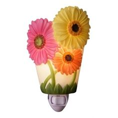 Gerber Daisy Flower Floral Hand Painted Night Light