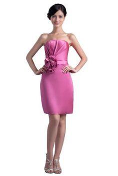 Dresstells Strapless Knee-length Satin Evening Gown Formal Party Prom Short Bridesmaid Dress for Juniors