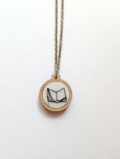 book jewelry embroidered necklace embroidery hoop by CallHerHappy