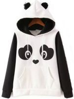 Jubileens Women's Cute Panda Print White and Black Fleece Hoodie Sweatshirts Tops Pullover Hoodie Sweatshirts, Printed Sweatshirts, White Hooded Sweatshirt, Fleece Hoodie, Bear Hoodie, White Hoodie, Hooded Sweater, Hooded Coats, Hooded Jacket