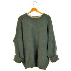 Oversized Army Green Sweater Thermal Boyfriend Cotton 90s Plain Basic... ($34) ❤ liked on Polyvore featuring tops, sweaters, cotton pullovers, green top, long pullover sweater, vintage sweater and oversized boyfriend sweater