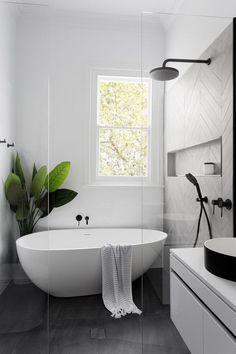 Modern Scandinavian bathroom interior in black and white #ContemporaryInteriorDesignbathroom #modernbathrooms