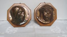 Vintage 1950's Wooden Wall Plaques Set with Copper by karmolijntje, €14.00