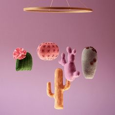 Baby mobile features 5 different cactuses (one of this years trends for nursery) in 5 shades of color of the year 2017 - green, in 5 fun bright colors or in 5 tender colors. This crib mobile is suitable for baby girl, baby boy or gender neutral nursery and will fit into interiors with