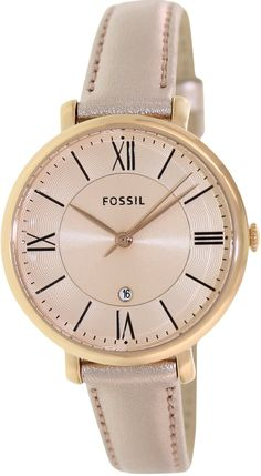 fossil watch women Fossil Womens Jacqueline ES3438 Rose Gold Leather Quartz Watch