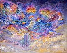 Rainbow Fairies, Josephine Wall    These two happy fairies that dwell in rainbows have collected all the beautiful colours on their wings, skin, and clothes. As they dance they decide where to go next. So, when you see a rainbow in future, you will know it is made up of millions of 'Rainbow Fairies' bringing their message of hope, and optimism to the world