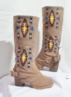 size 85 Hand Painted Boots By Rez Hoofs by Rezhoofz on Etsy, $178.50