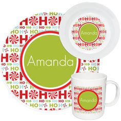 Ho Ho Ho Melamine Set. Dinnerware SetsMelamine. Personalized ...  sc 1 st  Pinterest & Make Mealtime Fun with Personalized Dinnerware u0026 Custom Melamine ...
