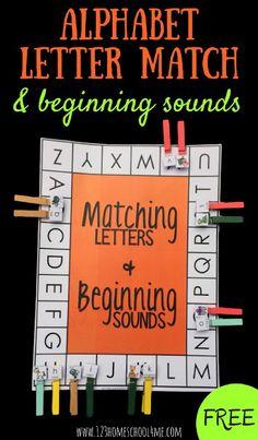 GRATIS letra del alfabeto del Partido y sonidos iniciales - Esto es una diversión tales manos sobre la actividad del alfabeto para ayudar a los preescolares, Pre-K, jardín de infancia, la práctica de primer grado que emparejan letras en mayúsculas e inferior, así como los sonidos iniciales.  (Homeschool, grado 1, los centros de alfabetización)