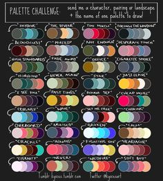 What you do is comment below with the palette title, and a link to your oc, and ill color it based on these colors! picture belongs to StripedTie Palette Challenge OPEN Color palettes belong to Striped-Tie Please fill out the form below. Colour Pallete, Colour Schemes, Color Combos, Color Palettes, Color Mixing Chart, Color Palette Challenge, Palette Art, Art Prompts, Art Challenge