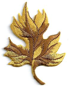 Fall Leaf Fully Embroidered In Gold/Browns Iron On Applique