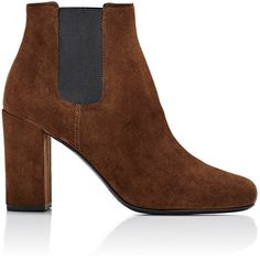 Saint Laurent Women's Babies Chelsea Boots (£690) ❤ liked on Polyvore featuring shoes, boots, ankle booties, ankle boots, brown, high heel bootie, brown bootie, chelsea boots, brown ankle booties and beatle boots