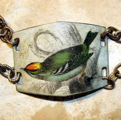 Victorian  Art Transfer Green Finch Painted Brass by Smoochys, $37.00