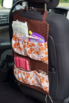 Kids Crocheting and Cupcakes: Thrifty Thursday ~ Car Junk Organizer Tutorial!!