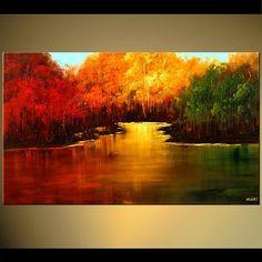 Paisaje árboles florecientes pintura verano indio moderno