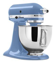 cornflower blue kitchenaid- I've always eyed the pink one, but this would match my vintage corningware.... :)