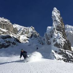 One of the cooles lines I've ever skied! Snow Skiing, Winter Snow, Mount Everest, Powder, Play, Mountains, Board, Nature, Fun