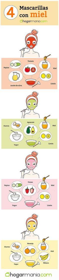 4 mascarillas faciales con miel. #hogarmania #belleza #mascarillas #faciales #miel