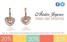 ¡Aretes en oro y plata rosada para consentir a mamá! Del 2 de mayo al 30 ¡Te esperamos! #Mayo #Promociones #Oro #Descuentos #Moda #Diseños #Plata #Regalos #Diamantes #Elegancia #Amor