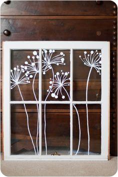 Modern Window Painting dandelion dots by audreygracephoto on Etsy, $125.00