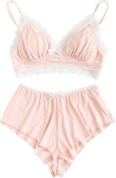 ef4b3f456d SweatyRocks Women s Lace Trim Underwear Lingerie Straps Bralette and Panty  Set Pink M at Amazon Women s