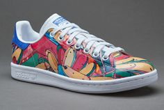 ADIDAS STAN SMITH WHITE FLOWERS FLORAL BLUE RED GREEN BANANA FARM S32036