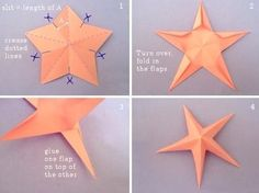 How to fold DIY paper craft starfish step by step tutorial instructions