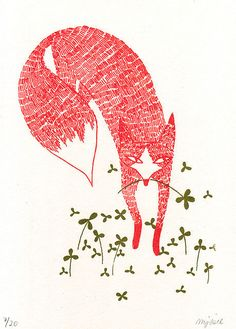 Fox in clover-teach hatching with an animal and tie in texture