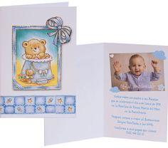Invitación Bautizo librito azul 424