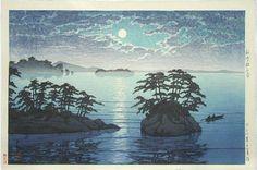 Hasui moonrise at futago island