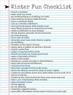 Winter Fun Checklist