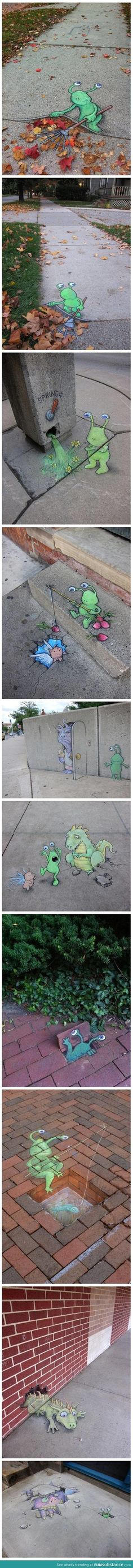 Awesome chalk art by David Zinn