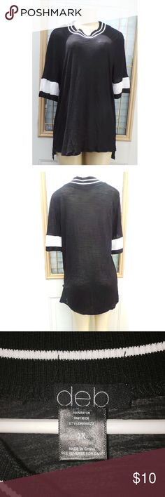 Women's Black T-shirt with White Stripes Women's black t-shirt with thick white stripes along the arms and and several white stripes along the neckline. Size 2X. NWOT Deb Tops Tees - Short Sleeve