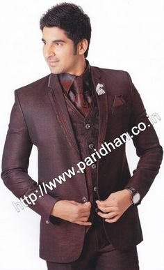 Exquisite mens tuxedo suit made from purple wine color pure polyester fabric. The suit consists of one jacket, one pant, one vest and one shirt.