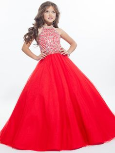 Perfect Angels 1626 Halter Beaded Pageant Dress