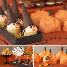 halloween witch cupcakes with licorice hair, waffle cone hats, and candy corn noses Halloween Desserts, Halloween Cupcakes, Postres Halloween, Halloween Treat Bags, Halloween Buffet, Halloween Goodies, Halloween Decorations, Preschool Halloween Party, Baby Halloween