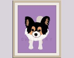 Papillon dog print. Puppy nursery artwork for baby & kids room decor theme. Custom colors, Dog Series print by WallFry