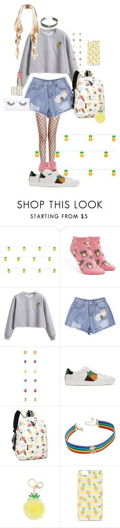 """Pineapples ! 🍍"" by bubblesemma ❤ liked on Polyvore featuring Forever 21, WithChic, Gucci, INC International Concepts, Luz Lashes, Summer, BackToSchool, pineapples, fashionset and polyvorefashion"