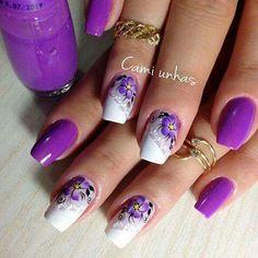 48 modelos de unhas decoradas com esmalte roxo Purple Nail Designs, New Nail Designs, Acrylic Nail Shapes, Acrylic Nails, Spring Nails, Summer Nails, Nails Only, Flower Nail Art, Boxing Day
