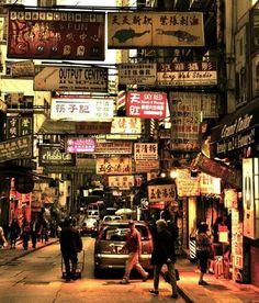 streetphotography evening Signs HongKong Orange yellow Trip nostalgia china Foreign Traveling People watching