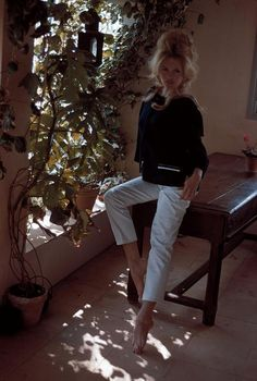FRANCE. St Tropez. 1960. Brigitte BARDOT, French actress, at her house 'La Madrague'.