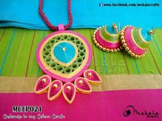 By Mekala Quilling Necklace, Paper Quilling Jewelry, 3d Quilling, Paper Earrings, Quilling Designs, Paper Jewelry, Paper Beads, Earrings Handmade, Handmade Jewelry