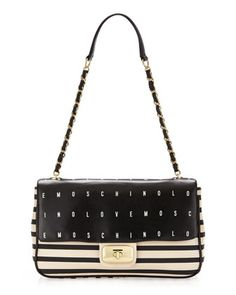 Striped Logo Flap Bag by Moschino at Last Call by Neiman Marcus.