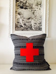 """Decorative Throw Pillow Cover 20""""x20"""" Square Cushion Black and White Aztec Motif Red Wool Swiss Cross Boho Modern"""