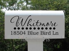 Two Mailbox decals Vinyl Wall Art by VinylConcepts on Etsy Mailbox Monogram, Mailbox Decals, Silhouette Vinyl, Silhouette Cameo Projects, Vinyl Crafts, Vinyl Projects, House Projects, Wood Crafts, Craft Projects